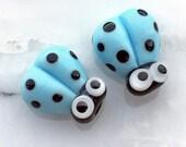 2 Glass Ladybug Beads, Lampwork Ladybug Beads, 14mm Beads, Blue Ladybug, Blue Ladybird, SRA Handmade Lampwork, DIY Jewelry - D