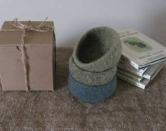 Felted Stacking Bowl Set - Sage/Thyme/Marjoram - Ready to Ship
