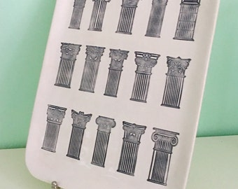Hand Built Porcelain Rectangular Dish-Platter with Classical Architectural Columns-Pillars