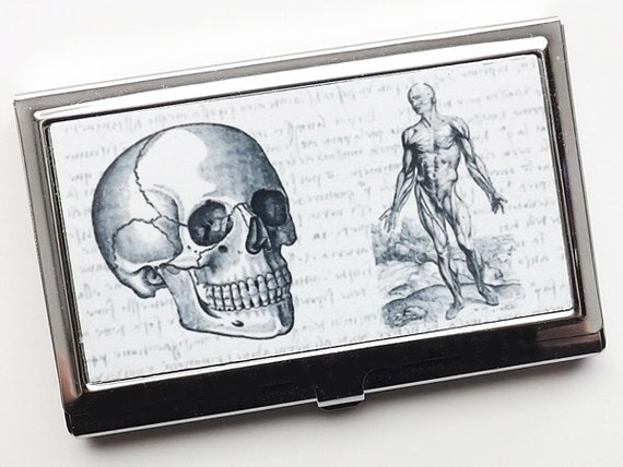 Skull Business Card Holder medical student graduation doctor gift for her him goth stocking stuffer nurse physician assistant male office