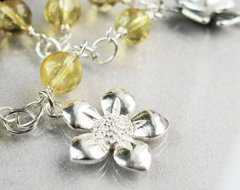 Charm Bracelet Sterling Silver Gemstone Jewelry   Fashion Accessories Unique  Gifts For Women For Summer Yellow Bracelet