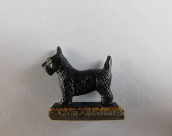 Tiny Scottie Dog Figurine on Base Terrier Collectible Miniature