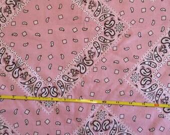 """Pink Bandana print on cotton lycra knit fabric 58"""" wide"""