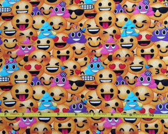 "NEW Emoji cotton lycra knit fabric 95/5 58"" wide."