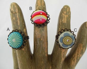 Adjustable Fabric Cabochon Ring - Your Choice