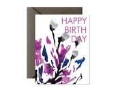 HAPPY BIRTHDAY  Grey Hot Pink Indigo Floral Greeting Card / - Single Card