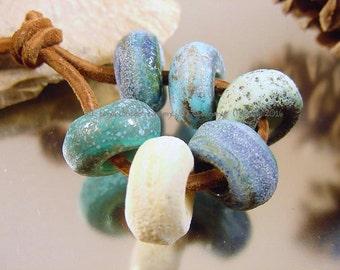 Handmade lampwork glass bead set, Artisan glass beads, green beads, aqua beads, ivory beads, big hole beads, matte finish beads, SRA beads