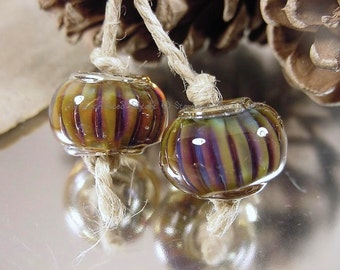 Handmade lampwork glass beads, Artisan glass beads, gold beads, purple beads, green beads, lampwork bead pair, earring pair, SRA lampwork