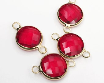 4 pcs of  Glass faceted round with  brass setting 16x10mm Red , glass connector 1/1 loop gold tone brass setting