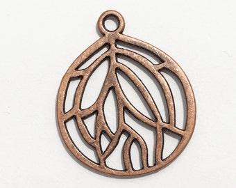 10 pcs of Antique copper pendant 27x22mm, Red bronze teardrop  pendant, bulk alloy pendant