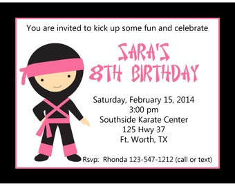 20 Personalized Birthday Invitations   -  Girl Ninja - Pink Ninja Invitations