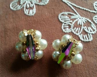 Vintage Aurora Borealis Crystal and Faux Pearl Clip On Earrings