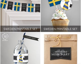 INSTANT DOWNLOAD - SWEDEN -  Missionary Farewell Welcome Home Decoration Printable Set for Elders