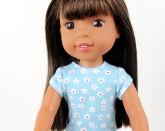 Fits like Wellie Wishers Doll Clothes - The Trendy Tee in Aqua Calico Daisy