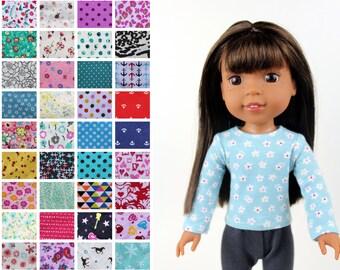Fits like Wellie Wishers Doll Clothes - Long Sleeve Tee, You Choose Print