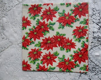 Vintage 1950's NOS Christmas Wrapping Paper - Poinsettias Blooms - Holly - Berries