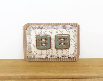 Square Stoneware Buttons in Rustic Sage Green Glaze - Set of 2