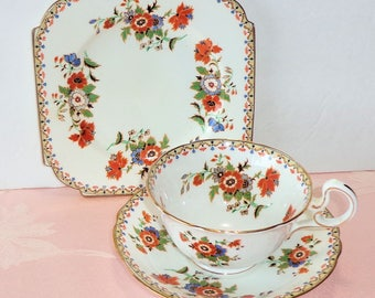 Vintage Aynsley England 3 Pc Place Setting Tea Set Cup Saucer Square Cake Plate Floral Gold Scallop