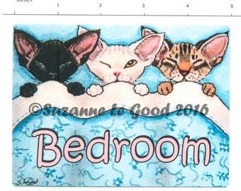 DEVON REX CAT Bedroom door sign by Suzanne Le Good