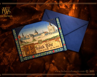 Medieval Castle Codex illuminated Manuscript style Thank you note to match WEDDING invitation set-or stand alone