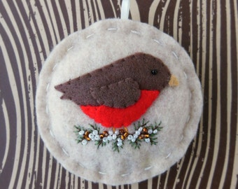 Holiday Robin - Felt Bird Christmas Ornament