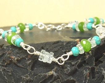 Blue Turquoise Bracelet, Clear Aquamarine Bracelet, Green Jade Bracelet, Sterling Silver Bracelet, Wire Wrapped Bracelet, Gemstone Bracelet