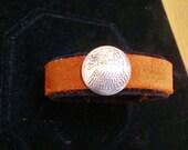Vintage Silver Eagle Slide Brown Suede Bracelet 7 1/2