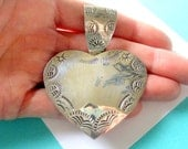 RESERVED..Large Stamped Taxco Sterling Silver Heart Pendant