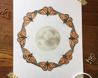 Moon Art. Butterfly Art. Monarch Butterfly Art Print. Watercolor Butterflies. Lunar Art. 8x10 Art Print. Gift Under 20. Ready to Frame Art