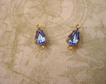 6 Vintage glass Light blue sapphire machine cut  pear brass  setting 10x6 - 2 ring charm connectors