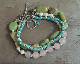 Green Turquoise Bracelet - Rose Quartz Bracelet - Sterling Silver Toggle Bracelet - Silk Knotted Bracelet - Naturalistic Bracelet