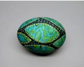 EasterSale Hand Painted Egg, Teal Blue Green with Raised Gold Dots, Easter Egg, Spring Decor, Leaves