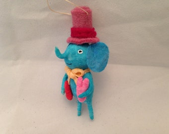 Spun Cotton Minature Elephant ornament german feather tree Valentine by Maria Paula