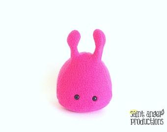 Fuchsia Pink Stuffed Alien Plush, Small Handmade Plushie, READY TO SHIP