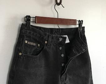 Vintage button fly Calvin Klein jeans / Black straight leg jeans 28 waist