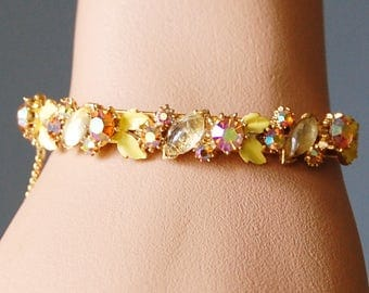 Vintage 1960s Florenza Bracelet with Aurora Borealis Rhinestones and Yellow Enamel Signed Hinged Cuff Ornate Gold Tone