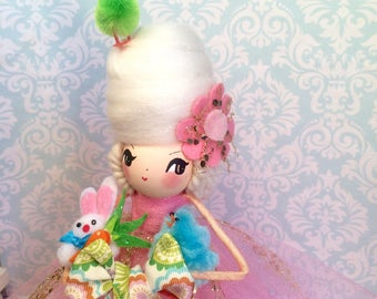 Marie Antoinette easter doll pink blue green vintage retro inspired art doll easter tree topper easter centerpiece