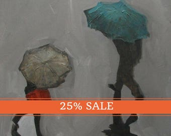 25% OFF SALE! Abstract Art Umbrella Figure Figurative Portrait Giclee Print Colette Davis - Rain Shadows