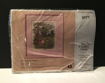 Vintage New in Package The Creative Circle Stitchery Kit for Counted Cross Stitch Swing Me Higher Picture