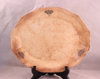 Vintage Well Loved Cream and Blue Platter