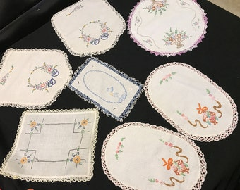 Lot of 7 Vintage Hand Embroidery Pieces with Crochet and Lace Trim