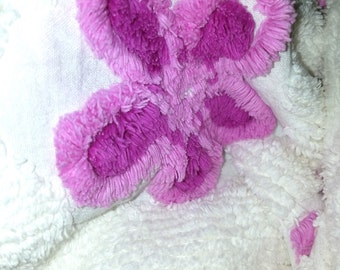 Vintage Chenille Bedspread fabric pieces, pink, purple white, yellow