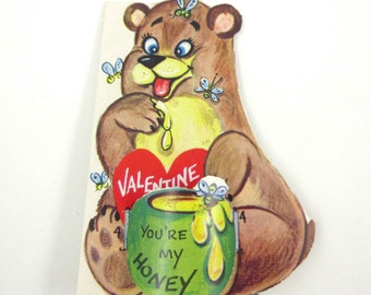 Vintage Unused Children's Novelty Valentine Greeting Card with Bear Bees and Honey Pot