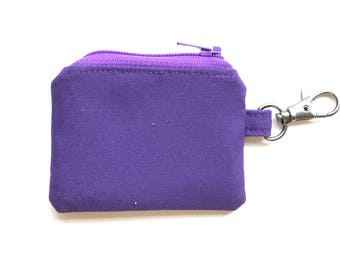 travel jewelry case. small dark purple zipper pouch. hearing aid case. earbud case. d ring lobster claw key chain. small gift for friends