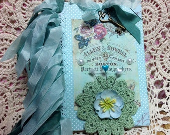 Victorian Aqua Altered Journal - Large Hand Crochet Doily - 5 By 7 inch Ladies Journal