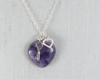 Cape Amethyst and Sterling Silver Charm Necklace