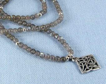 Labradorite and Sterling Silver Celtic Knot Adjustable Necklace