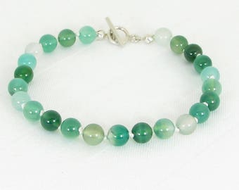 Handknotted Natural Green Agate and Sterling Silver Bracelet