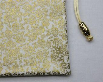 White and Gold Silk Lined Tarot Bag, Tarot Pouch, Handmade 5 x 7