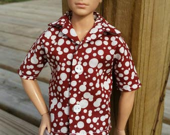 Ken Shirt Rusty Red and Off White Print Ready to Ship Ken Clothes Barbie Clothes Tall Barbie Fashionista